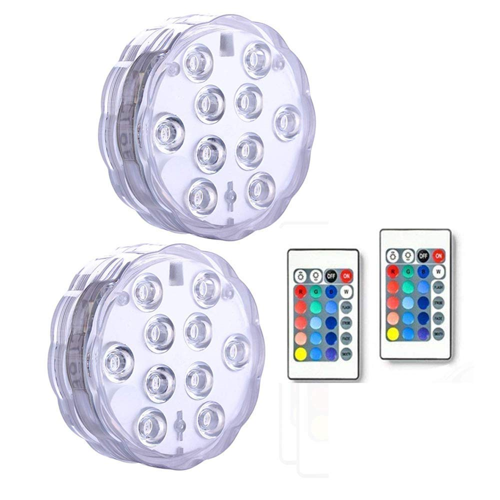 Submersible LED Lights Remote Control Underwater Battery Operated Light,10-LED Waterproof MultiColor Lights for Wedding,Valentine's Day,Halloween,Christmas,Aquarium,Garden,Pool,Reusable Light 2Pack