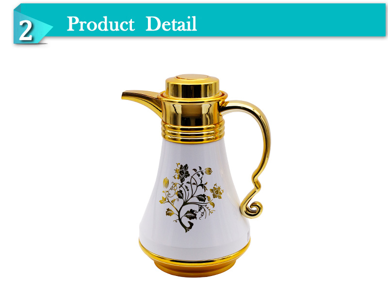 Arabic thermos tea vacuum coffee pot with glass liner gloden chrome(JGLF)