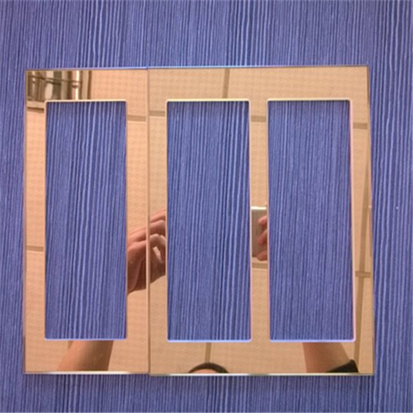3 inner cut outs, golden glass switch panel