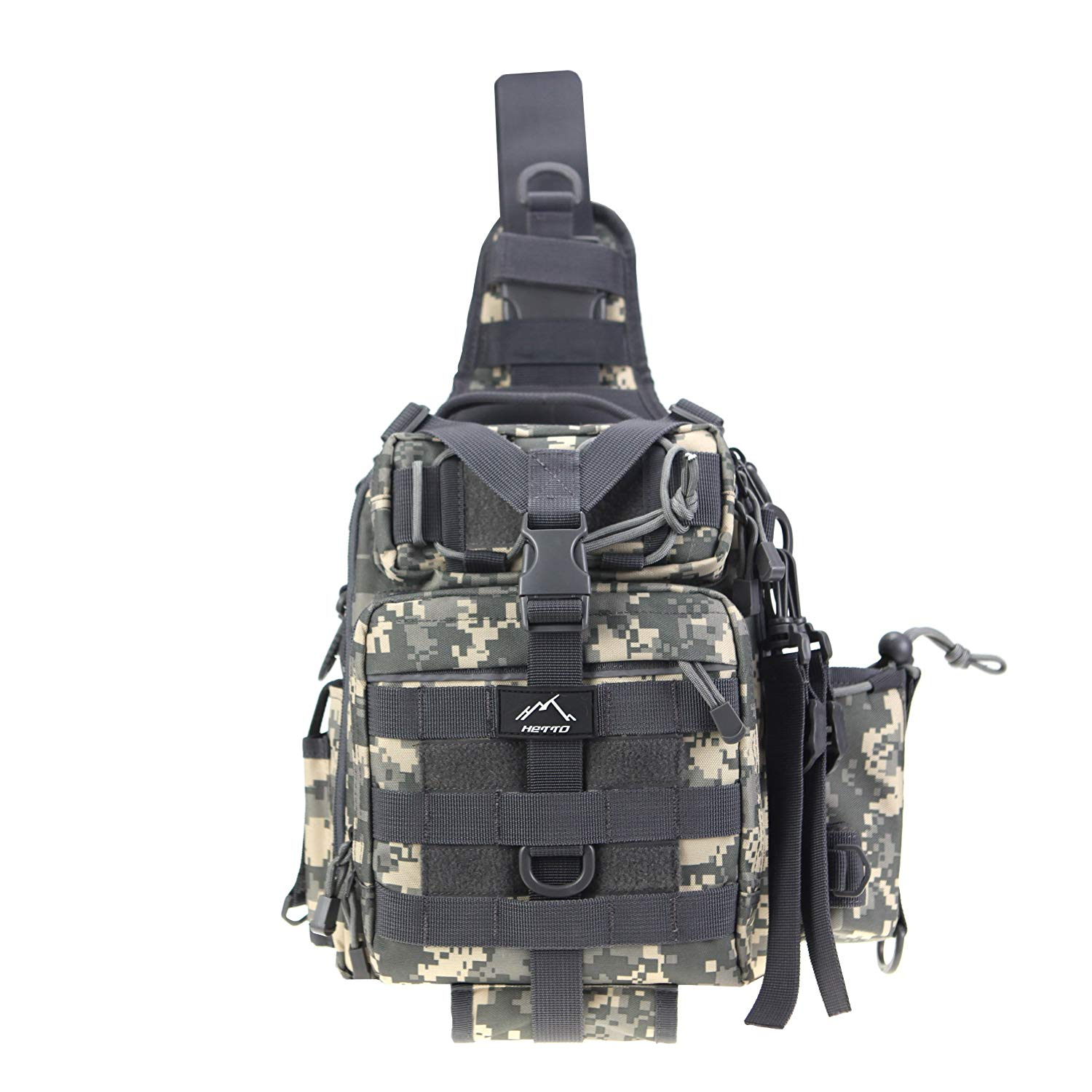 aa171b1e67c0 Get Quotations · HETTO Tactical Sling Chest Pack Small Waterproof Nylon  Fishing Tackle Bag MOLLE One Strap Crossbody Backpack