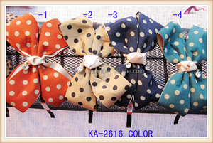 Plain Metal Headbands With Fabric Bowknot