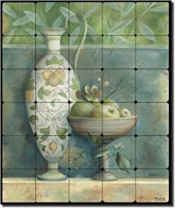 "Tuscan Mela by Louise Montillio - Fruit Apple Tumbled Marble Mural 24"" x 20"" Kitchen Shower Backsplash"