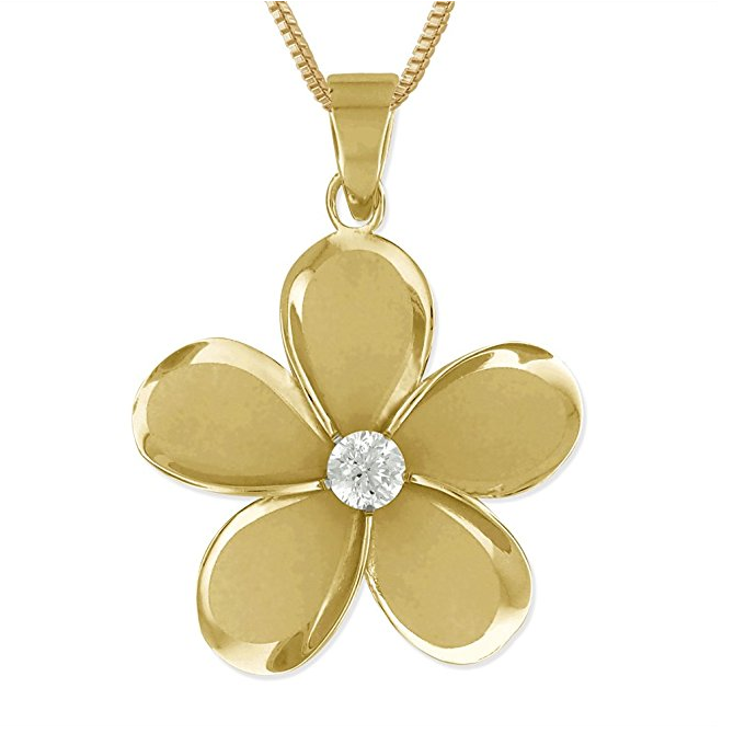Gold Plated 925 Sterling Silver Hawaii Flower Necklace