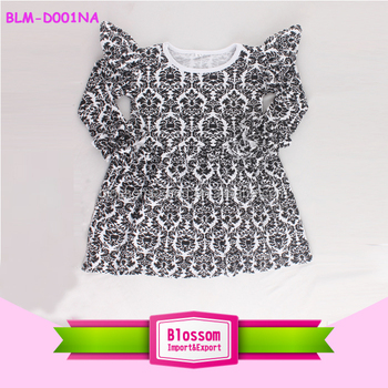 3290ab038868 2018 New arrival in stock printed baby damask dress cap ruffle long sleeves baby  infant summer