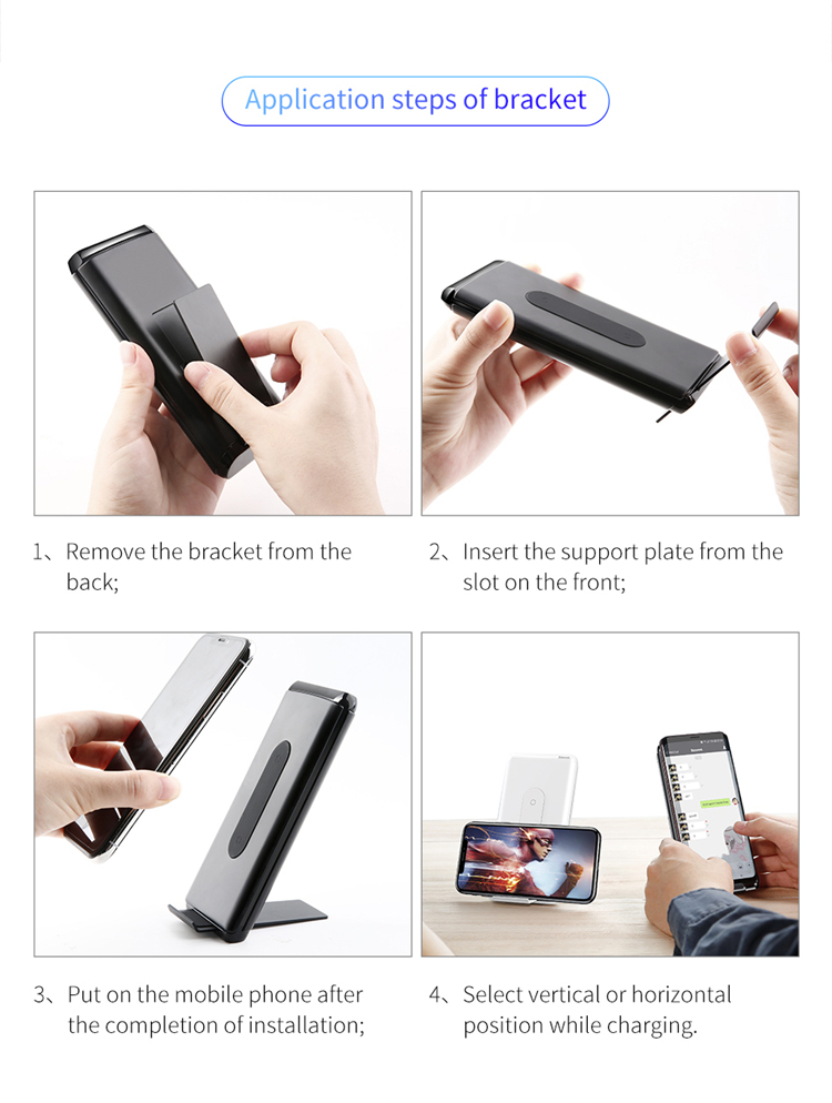 Baseus Pd Fast Charge 10000mah Qi Wireless Power Bank Charger for Xiaomi