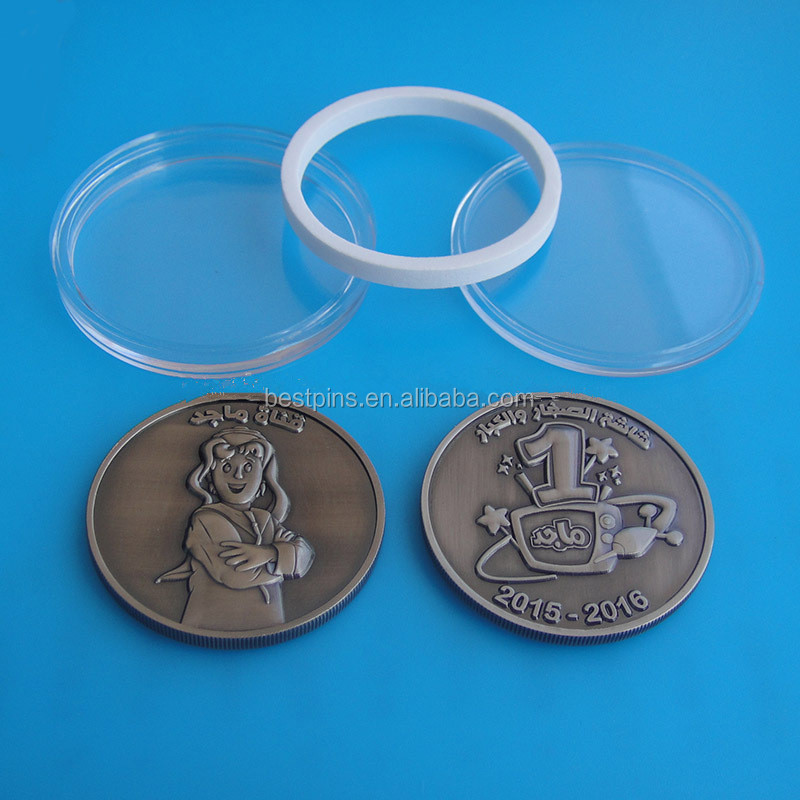 3D souvenir coin packing with capsule box challenge coin antique gold