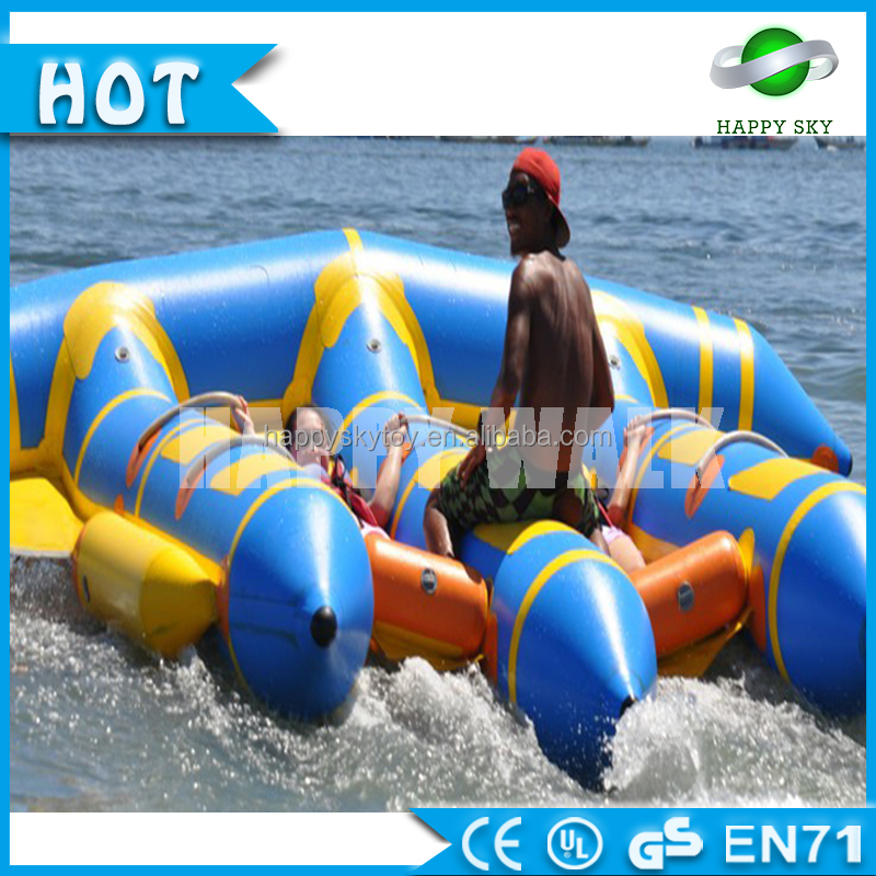 Bouncia inflatable fly fish water boat, inflatable banana boat tube games