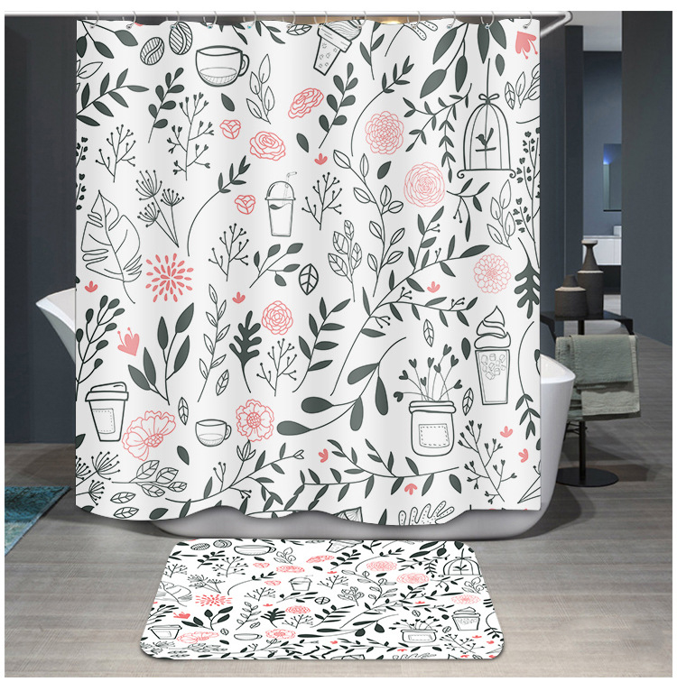 Lovely Cactus Printed Shower Curtains Plants Green Waterproof Fabric Polyester Bath Curtain
