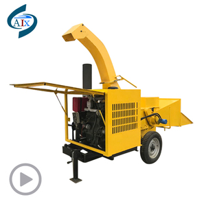 Large wood chipper machine in forestry machinery
