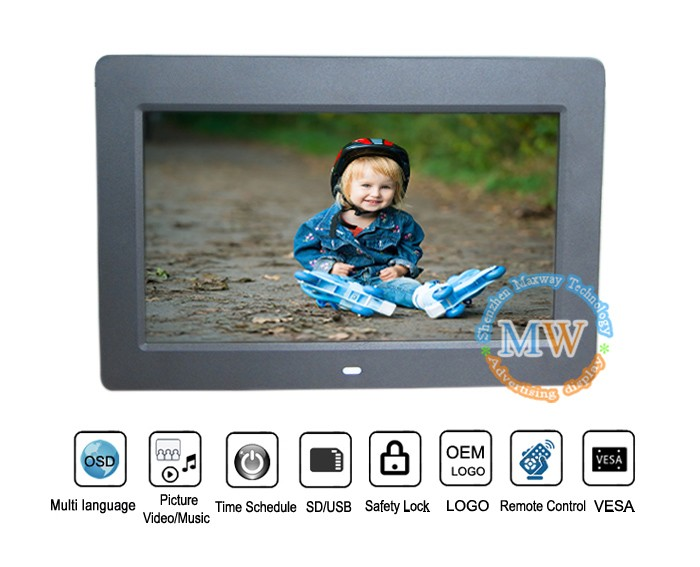 Promotional 10inch digital photo picture frames paper usb flash drive with picasa with internal battery