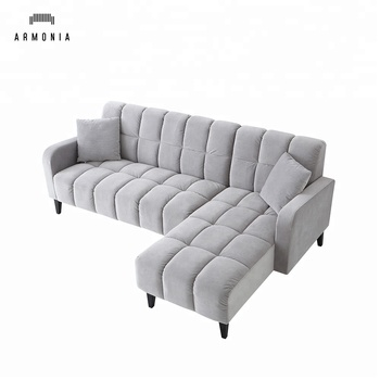 Modern Grey L Shaped Sectional Sofa