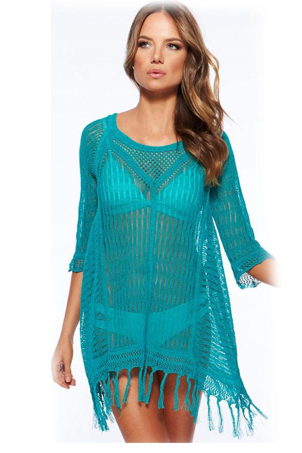 00859588df149 3 colors Sexy Cool Fringe Crochet Beachwear swimsuit summer beach cover up  swimming dress for woman