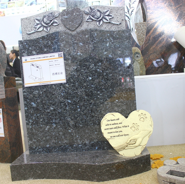 Chinese Customized Wholesale Price Blue Pearl Granite Carved Rose Monument sign With Polished for cemetery memorials
