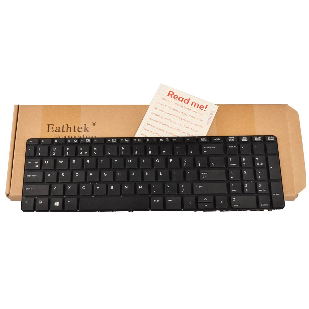 Eathtek Replacement Keyboard without Frame for HP PROBOOK 450 G0 450 G1 455 470 G1 series Black US Layout, Compatible with part number 721953-001 727682-001 MP-12M73US-442 90.4ZA07.L01