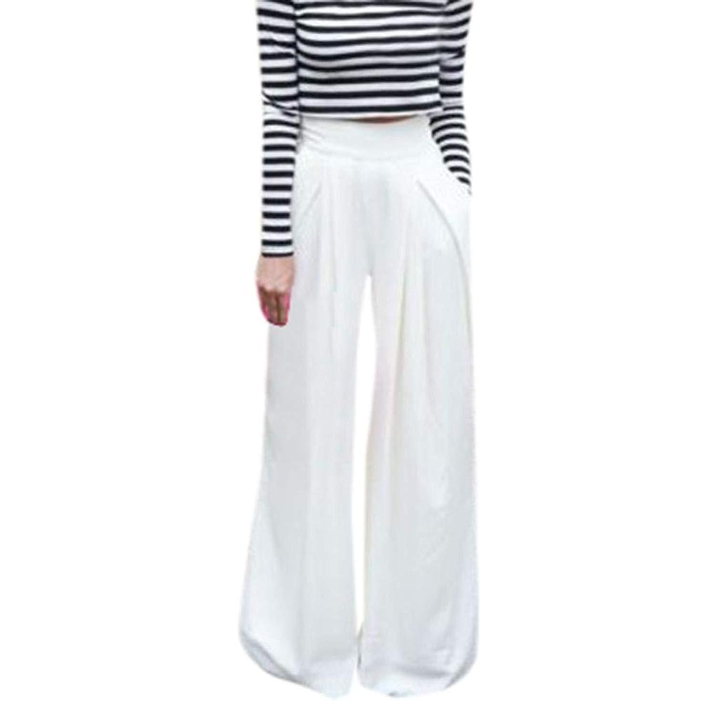 8d15d1112d9 Get Quotations · Alixyz Womens Elastic Waist Cotton Trouser Cropped Wide  Leg Pants Casual Loose Plus Size
