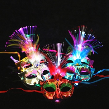 Hot Sale Design PVC Peacock Feather Mask Mardi Gras Mask
