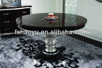 Zwarte Ronde Tafel : Europese stijl eetkamer meubels enkele poot zwarte ronde tafel