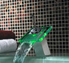 Single Handle Color Changing LED Waterfall deck mounted Bathroom Sink Faucet