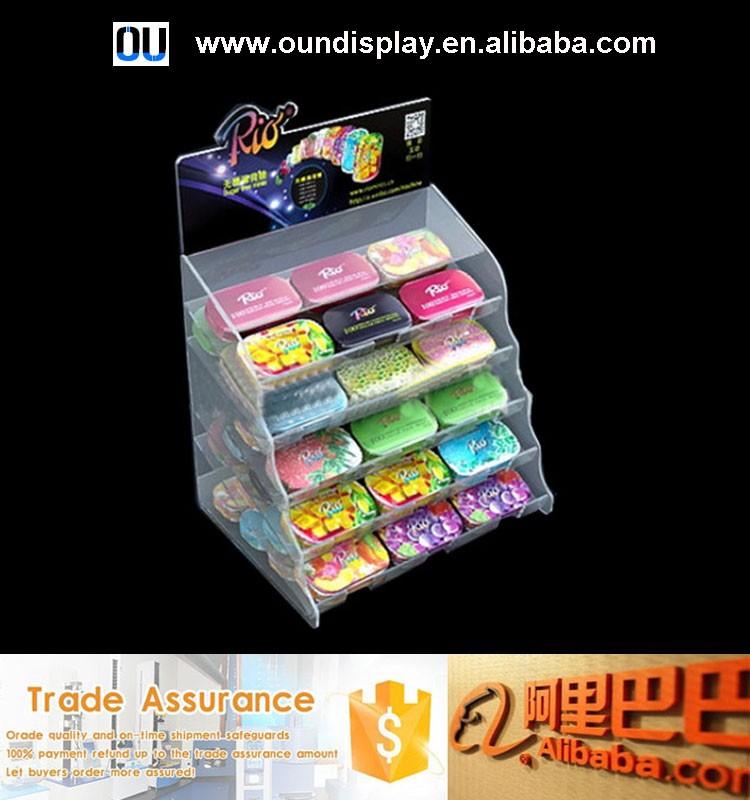 Retail Store Acrylic Snack Display Racks Supermarket Cash