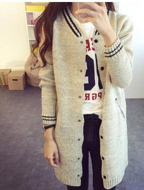 Korean Institute of wind in the long coat V collar sweater cardigan baseball uniform lady jacket
