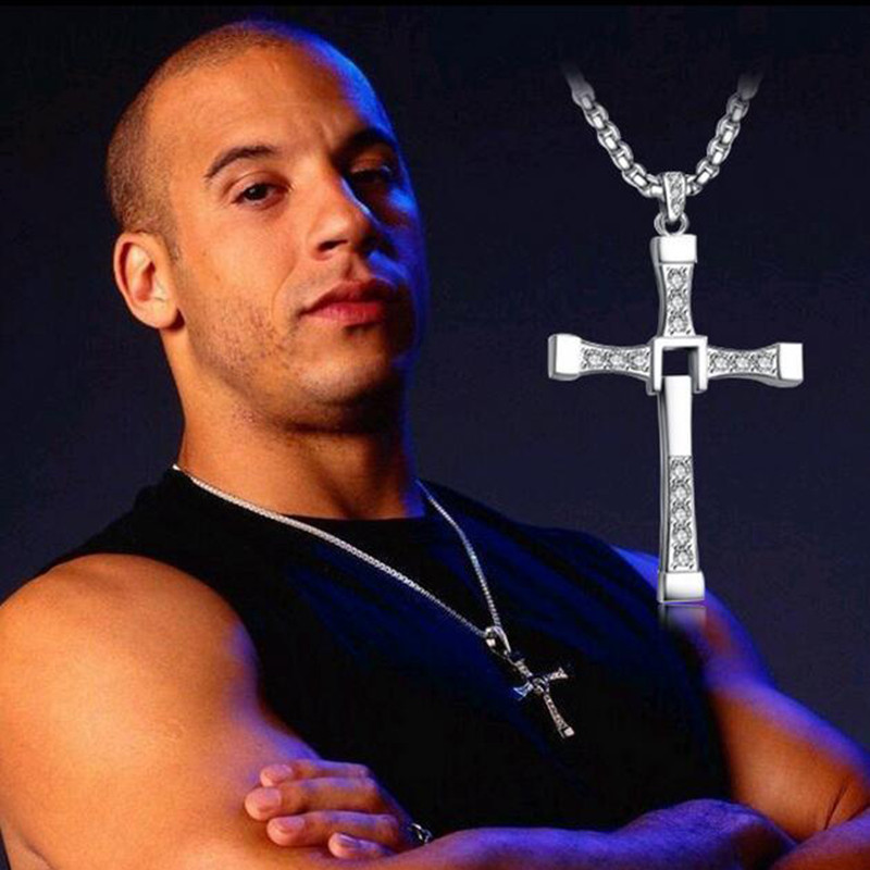 Fast And The Furious Dominic Toretto Sliver and gold Cross Necklaces with Rhinestone Pendant
