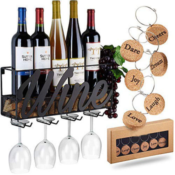 Wall Mounted Wine Rack | Bottle & Glass Holder | Cork Storage Store Red, White, Champagne