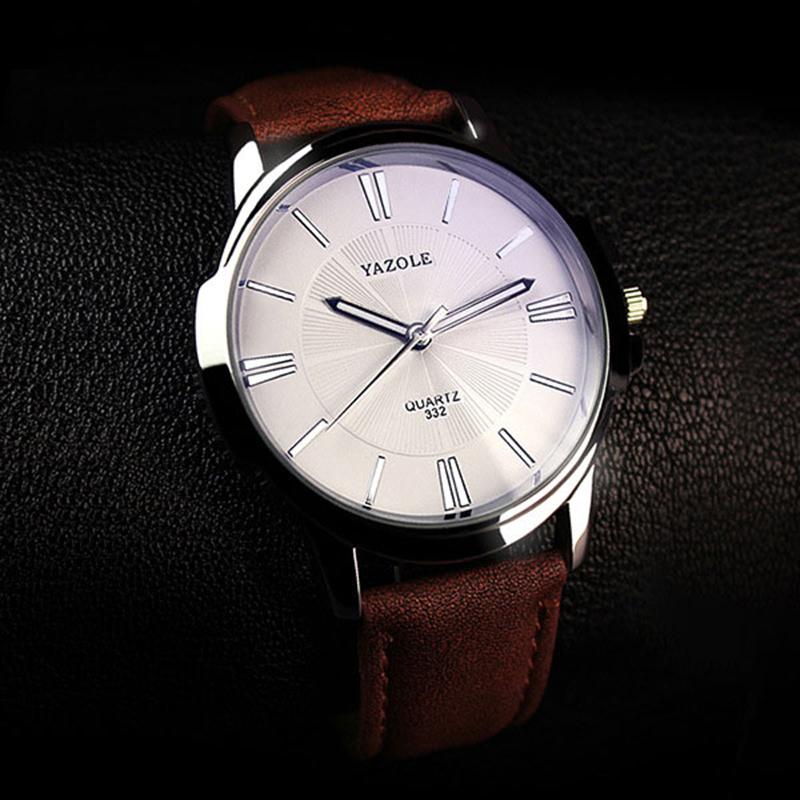 2018 hot watch YAZOLE 332 Quartz watch Men Watches Top Luxury brand Male WristWatch leather Business Male Clock