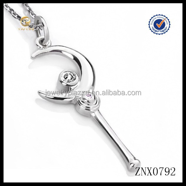 2015 New design sailor moon necklace crescent moon 925 sterling silver pendant necklace