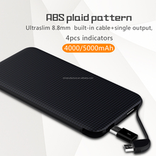 Ultra slim 2A fast recharge 4000mah 5000mah ABS plaid pattern power bank compatible with android/Iphone/Type-C mobile phones