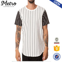 Cheap Wholesale Baseball Striped Curved Hem Tee in White & Black