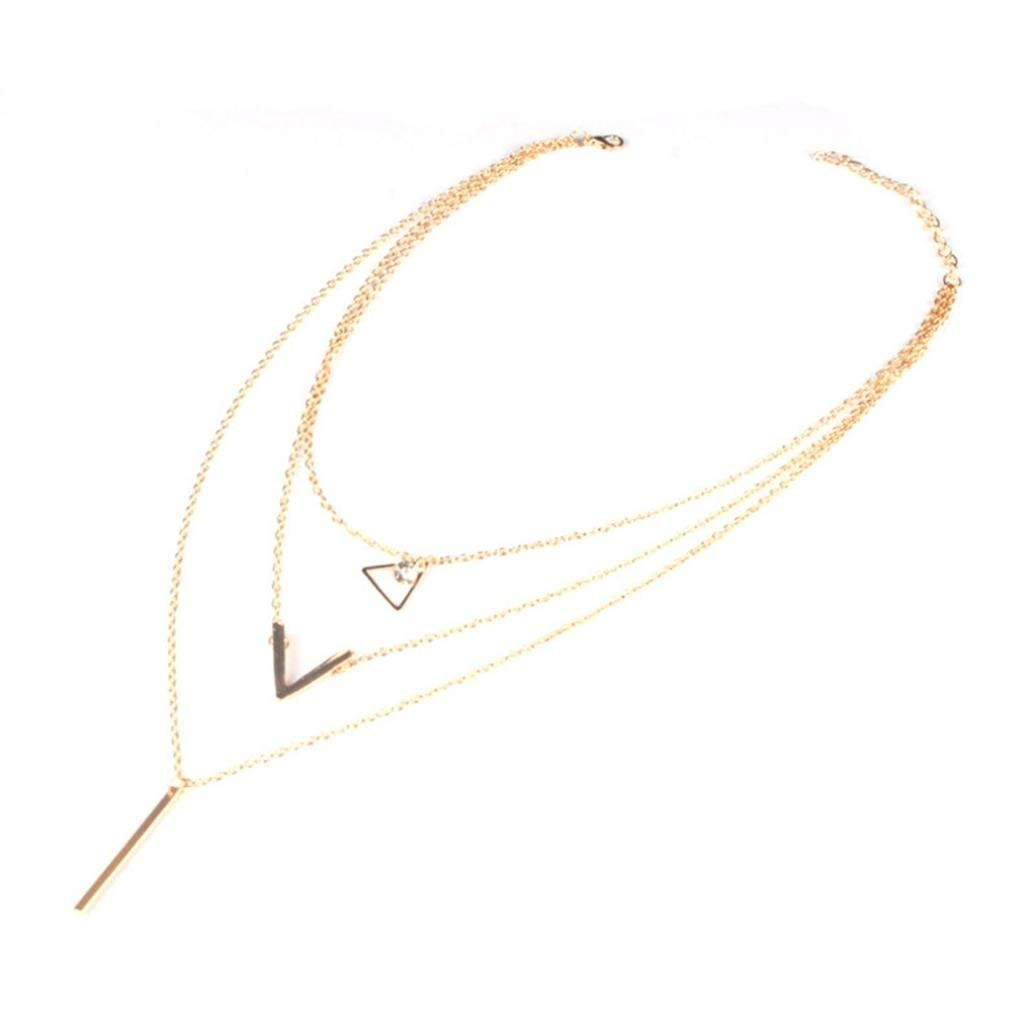 LLguz Simple Women Fashionable Personality Crystal Sequin Necklace Multi-layer Metal Pendant Clavicle Chain Classic Luxury Jewelry