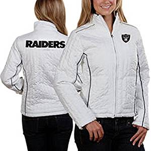 Oakland Raiders Ladies Womens Jacket Full Zip Quilted Nfl Coat (L)