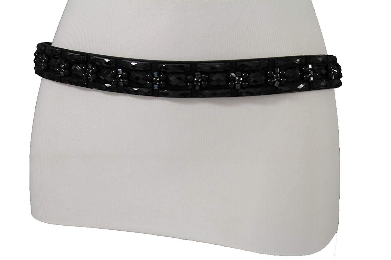 TFJ Women Fashion Elastic Band Belt Hip Waist Wide Gold Metal Buckle S M Blue Color