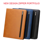 Wholesale office stationery pu material file folder style portfolio Cheap PU A4 Pu Leather zipper portfolio with handle
