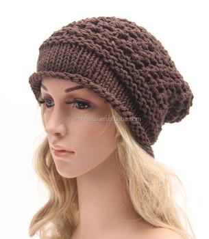 New Fashion Women s Lady Beret Braided Baggy Beanie Crochet Warm Winter Hat  Ski Cap Wool Knitted 5c0b22cd58f6