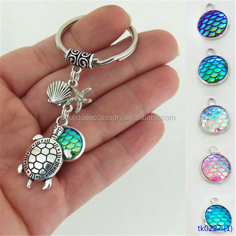 Turquoise Crystal Turtle Keyring Chrome Metal Key Chain Gift Boxed
