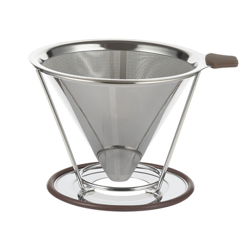 New Design Stainless Steel Etching Logo Disposable Drip Coffee Filter With Silicone Handle