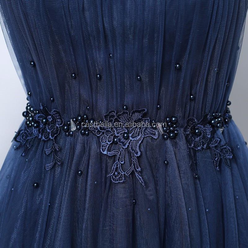 9ee855799 De las mujeres de Organza vestido de noche azul marino vestido de fiesta  largo