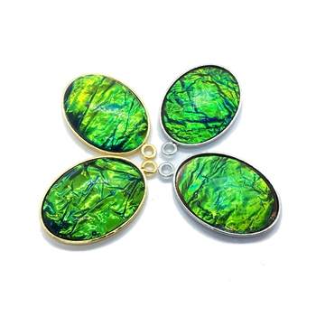 Oval Shaped lab created Canadian Ammolite big Pendant gold plated set rainbow opal green gemstone charms for pendants