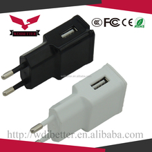 Wholesale EU Plug Full 5V 1a Double USB Wall Power Charger adapter Rechargeable Travel Charger