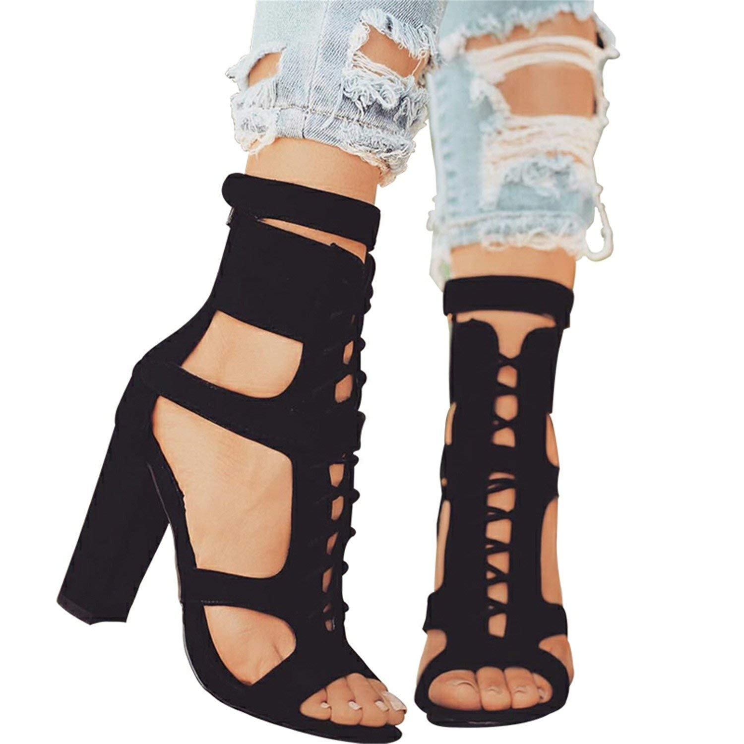 9b1df9fd7646 Get Quotations · Wind Flock Women Sandals Gladiator High Heels Strap Pumps  Lace-up Female Shoes Fashion Summer