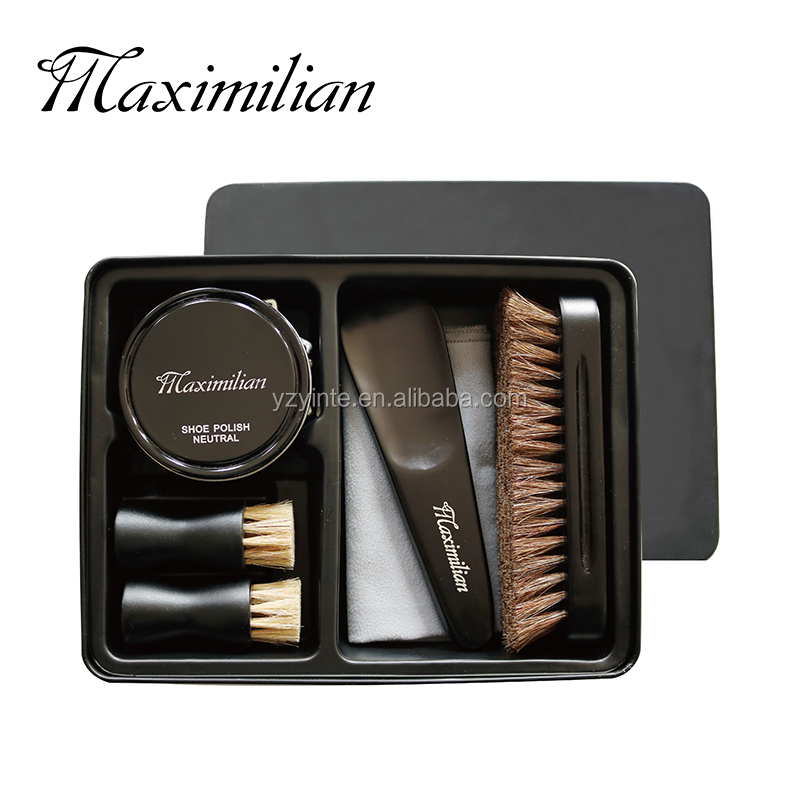 6 pcs Shoe Shine Kit W//100/% Horsehair Brush Business Trip Carrying /& Household