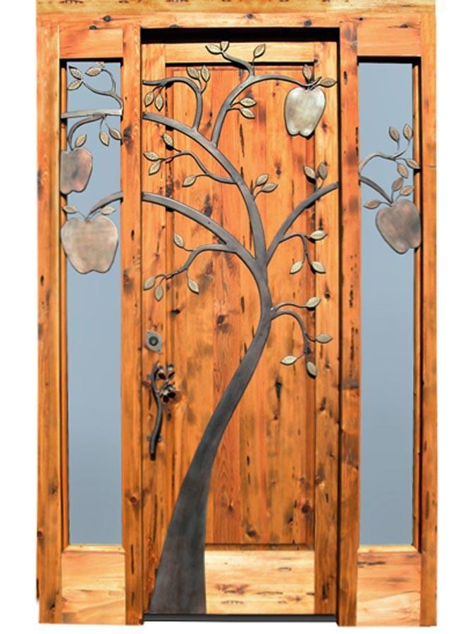 Madera maciza frente de entrada puerta principal dise o for Disenos de puertas en madera y vidrio