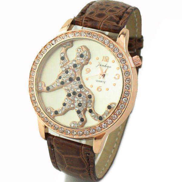 2015 Hot Sale 10 Colorful fashion leather leopard watches Twist the belt Full Artificial Diamond Women rhinestone Dress Watches