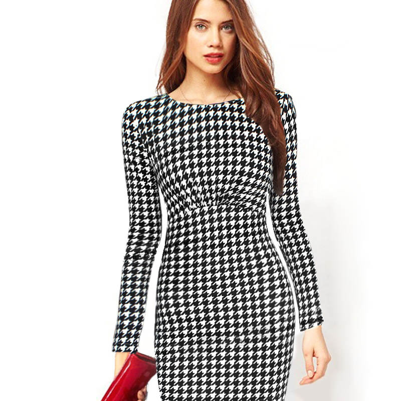 f6af2095fae High Quality Women Dress Elegant Belted Tartan Patchwork Tunic Work Business  Casual Party Dresses Bodycon Pencil