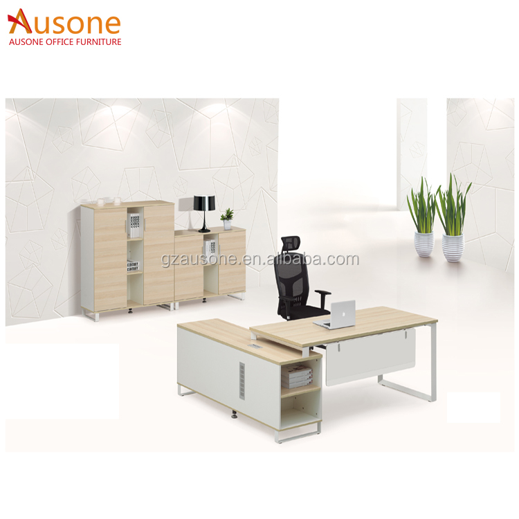 Modern Office Furniture Executive White Wooden MFC Office Desk Set