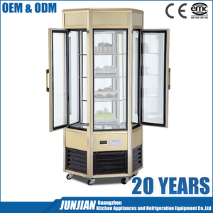 Rotating normal temperature cake showcase glass cake display cabinet bakery refrigeration equipment