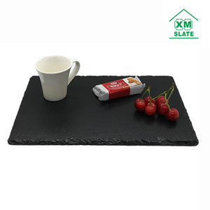 Passed FDA LFGB oil coating export UK USA 30X20cm dark black slate stone cake food dinner dish