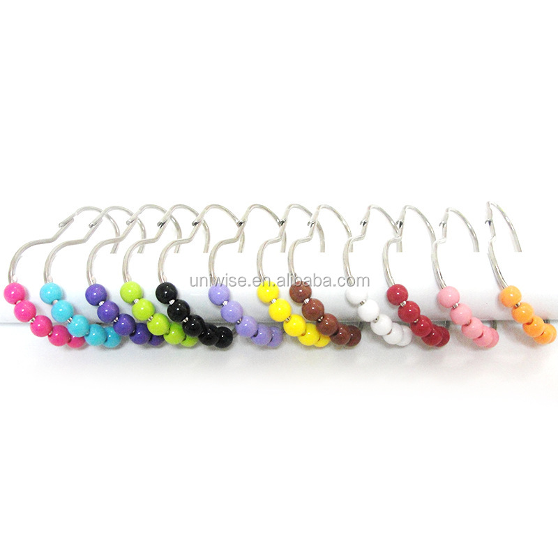 Calabash Pearls Shower Curtain Hooks RingsColorful Plastic Metal Bathroom
