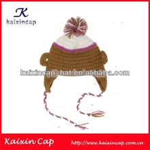 wholesale 100% cotton kufi crochet beanie skull cap knit hat knit beanie children cap with a top ball